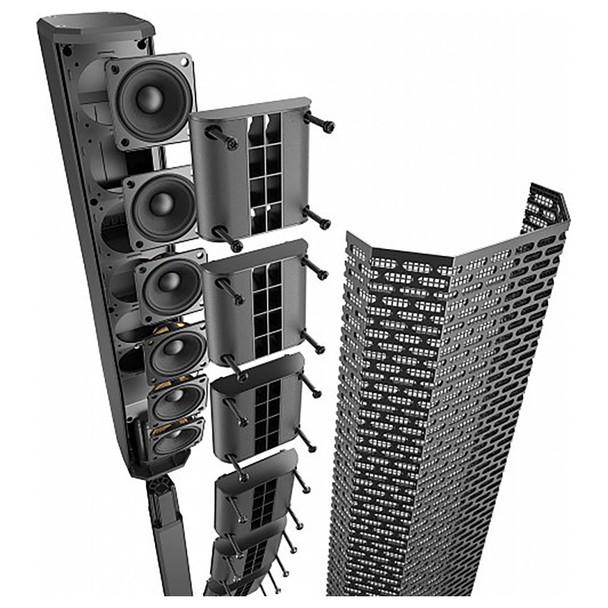 EV EVOLVE 30M Portable Powered Column Speaker System close up of array components