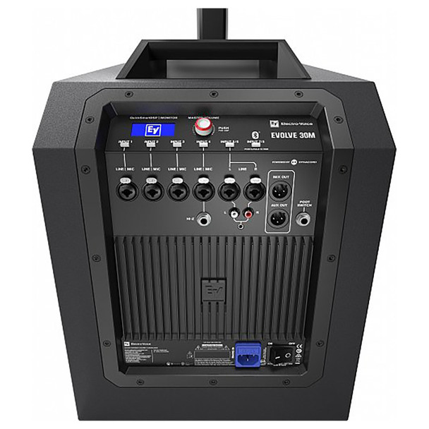 EV EVOLVE 30M Portable Powered Column Speaker System view of inputs outputs from behind