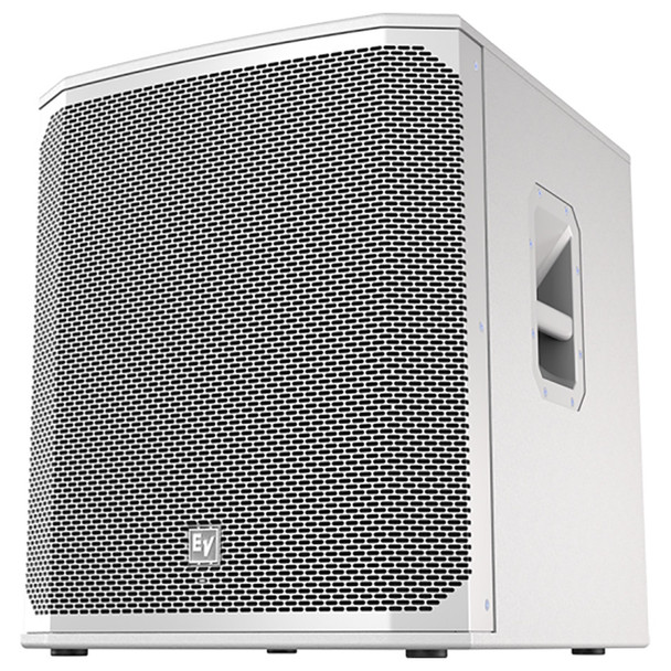 "White Electro-Voice ELX200-18SP-US 18"" powered subwoofer front"
