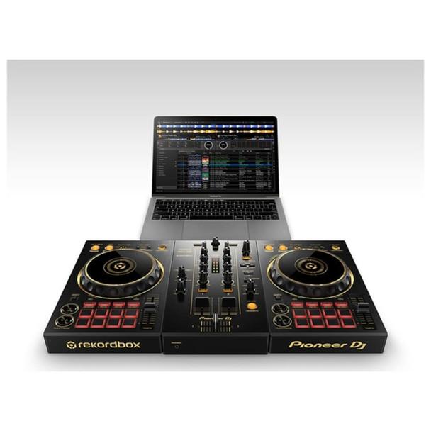 PIONEER DDJ-400-N/PXJ GOLD 2-Channel Limited Edition Rekordbox DJ Controller Plugged Into Rekordbox Laptop
