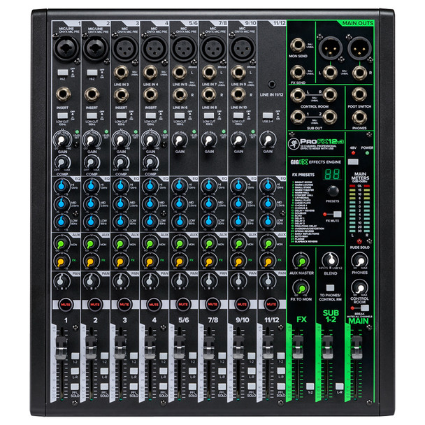 MACKIE ProFX12v3 12 Channel Professional Effects Mixer with USB top
