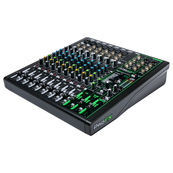 MACKIE ProFX12v3 12 Channel Professional Effects Mixer with USB right angle view