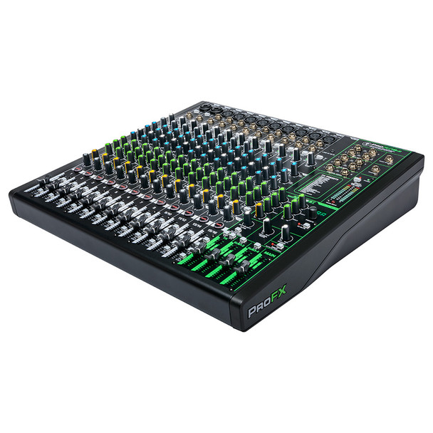 MACKIE ProFX16v3 16 Channel 4-bus Professional Effects Mixer with USB right angle view
