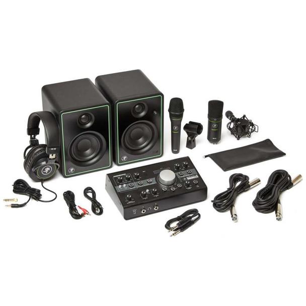 MACKIE Studio Bundle: CR3-X monitors, Big Knob Studio Monitor controller/interface, EM89D dynamic mic, EM91C condenser mic and MC-100 headphones.