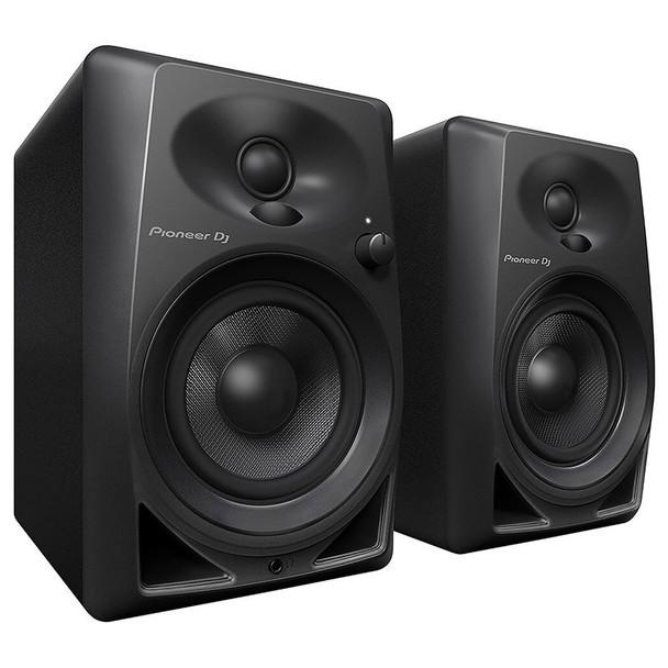 PIONEER DJ DM-40 compact 4 inch 21 Watt desktop monitors angled view. EMI Audio
