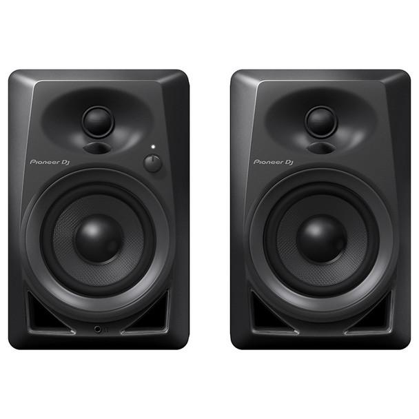 PIONEER DJ DM-40 compact 4 inch 21 Watt desktop monitors front view. EMI Audio