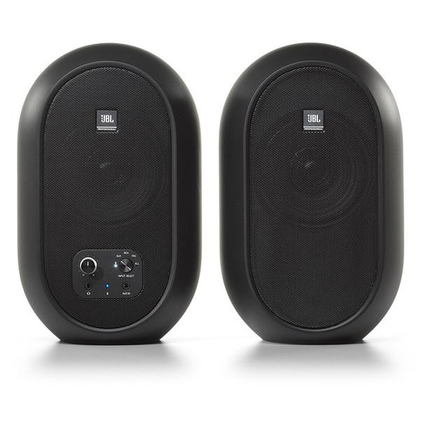 JBL 104SET BT Compact Reference Monitors with Bluetooth pair front view. EMI Audio