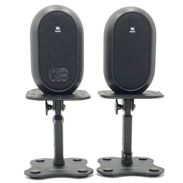 JBL 104SET BT black Monitors on Yorkville SKS-T11 stands. EMI Audio