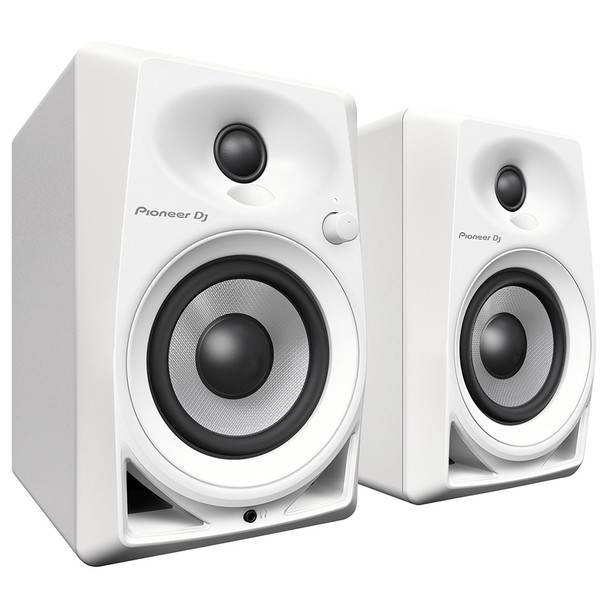 PIONEER DJ DM-40W white compact 4-inch 21 Watt desktop monitors angled view. EMI Audio