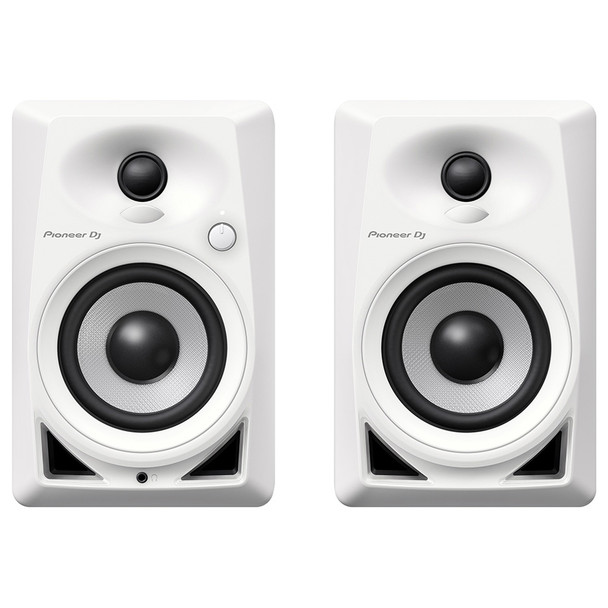 PIONEER DJ DM-40W white compact 4-inch 21 Watt desktop monitors front view. EMI Audio