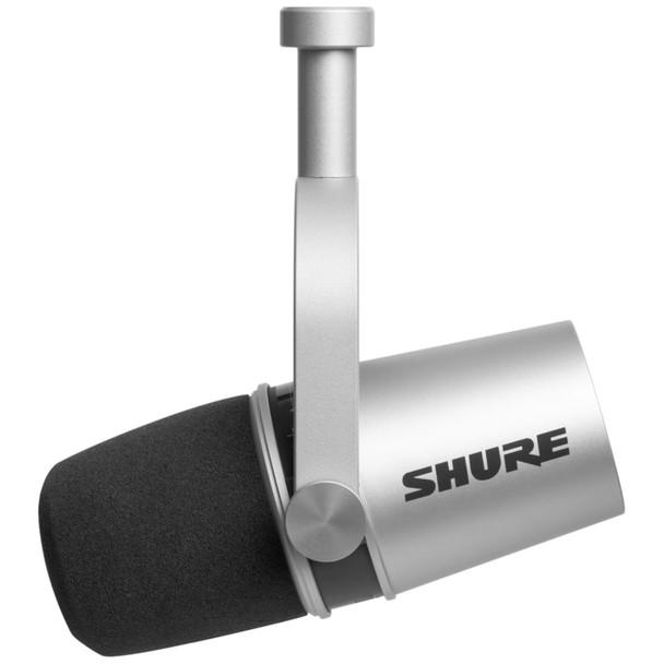 Shure MV7-Silver Podcast Microphone - Digital & Analog Dynamic Microphone side view   EMI Audio