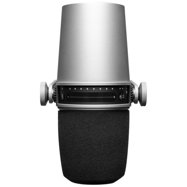 Shure MV7-Silver Podcast Microphone - Digital & Analog Dynamic Microphone top view   EMI Audio