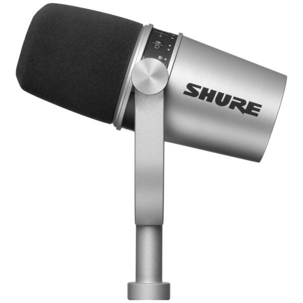 Shure MV7-Silver Podcast Microphone - Digital & Analog Dynamic Microphone angle side   EMI Audio