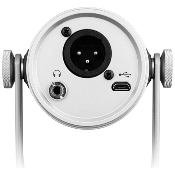 Shure MV7-Silver Podcast Microphone - Digital & Analog Dynamic Microphone back xlr usb view   EMI Audio