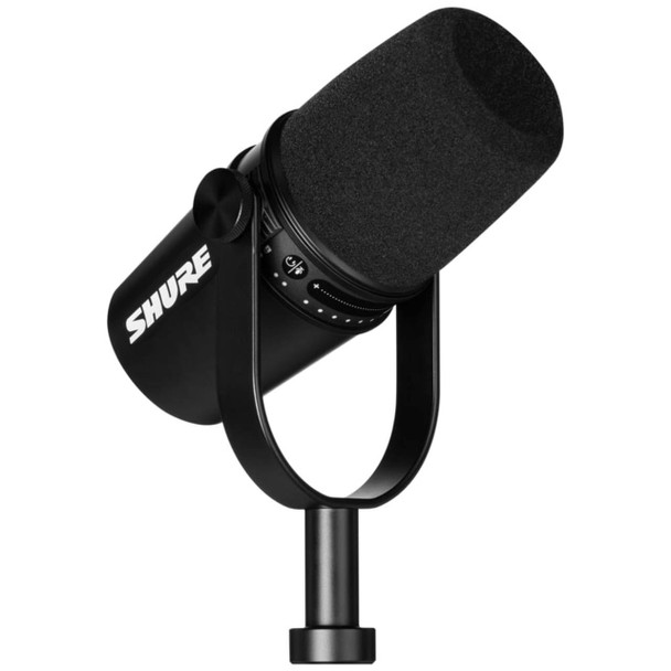 Shure MV7-K black podcast microphone side angle up view. EMI Audio