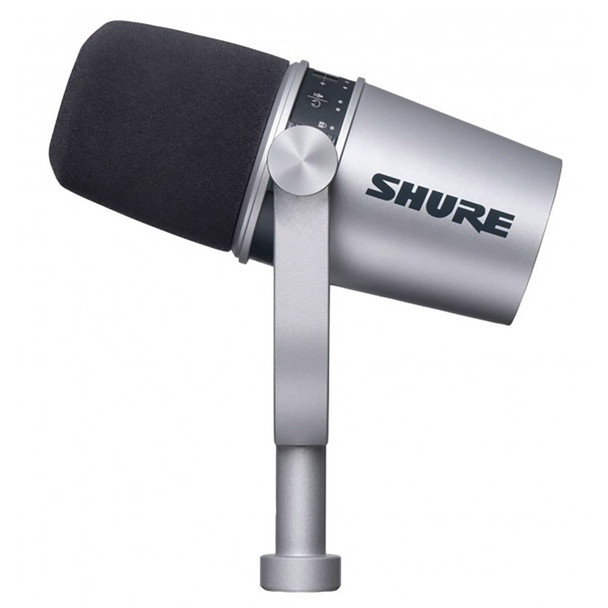 Shure MV7-S silver podcast microphone angle up view. EMI Audio