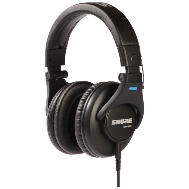 SHURE SRH440 professional studio headphones left angled view. EMI Audio