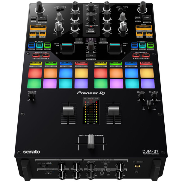PIONEER-DJM-S7-2-channel-Performance-DJ-Mixer-with-Bluetooth-Capability-for-Rekordbox-and-Serato-DJ-Pro-Top-Angle-EMI-Audio