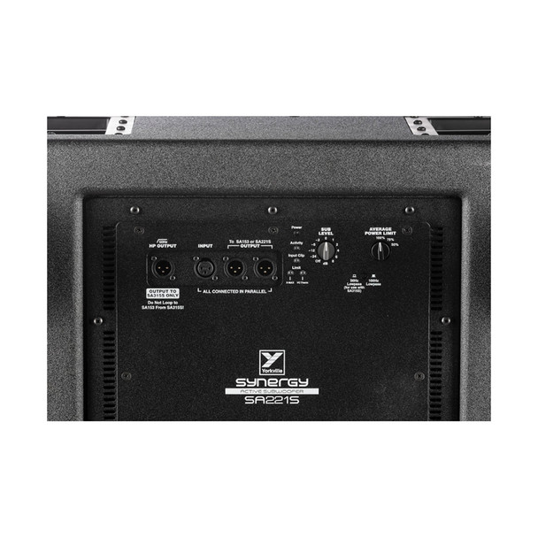 Yorkville SA221S Synergy Array Series Powered Subwoofer back panel