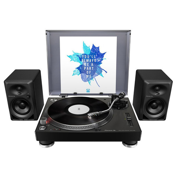 "PIONEER DJ DM-40 compact 4"" 21W desktop monitors with turntable. EMI Audio"