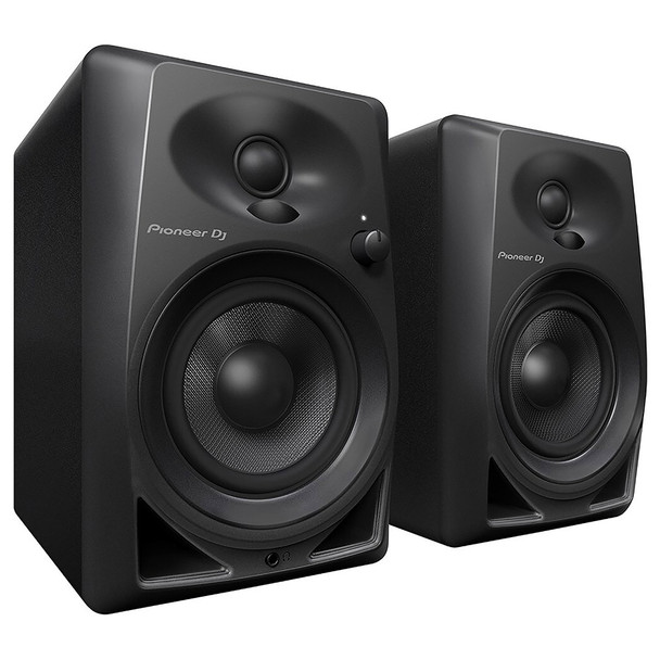 "PIONEER DJ DM-40 compact 4"" 21W desktop monitors front view. EMI Audio"