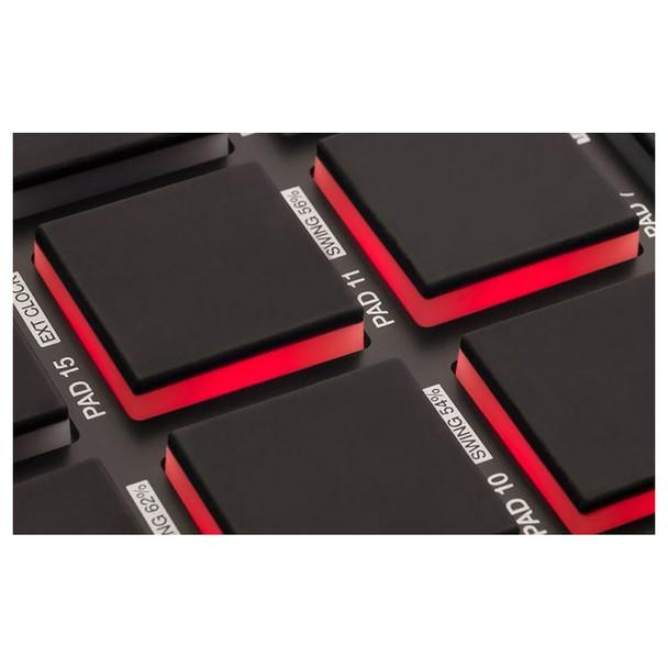 AKAI MPD218 MIDI-over-USB pad controller button close up. EMI Audio