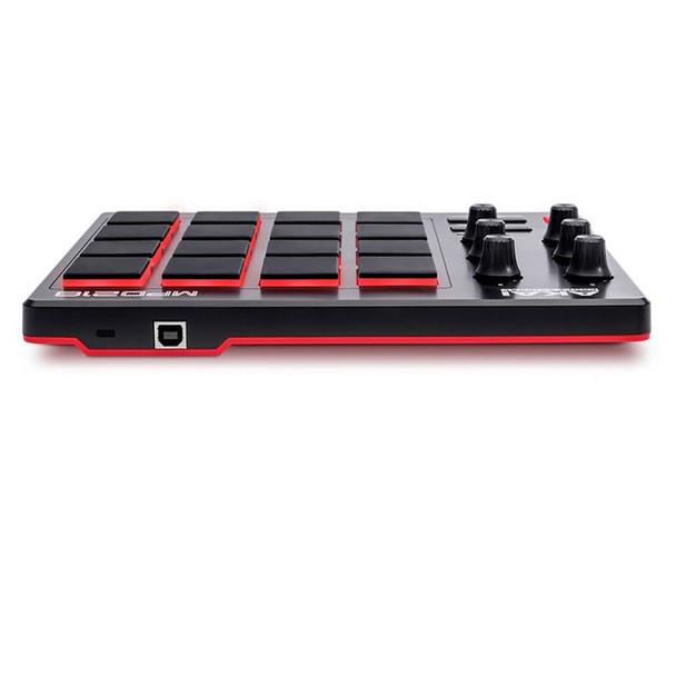 AKAI MPD218 MIDI-over-USB pad controller end view. EMI Audio