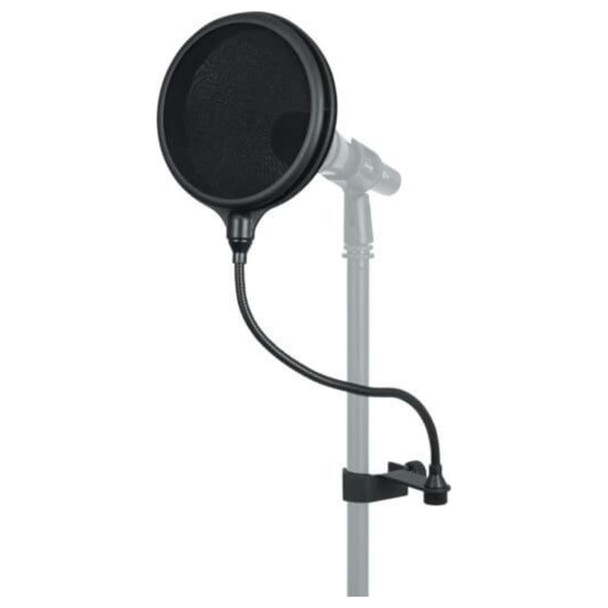 """GATOR 6″ Double Layered, Split Level """"Pop"""" Filter with example microphone"""