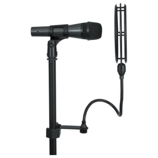 """GATOR 6″ Double Layered, Split Level """"Pop"""" Filter side view on mic stand with mic"""
