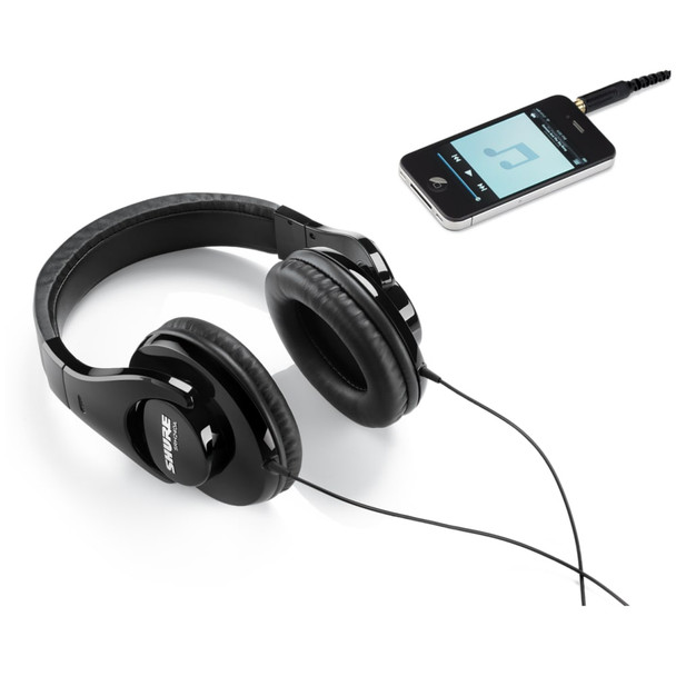 shure-srh240a-headphones-connected-to-phone