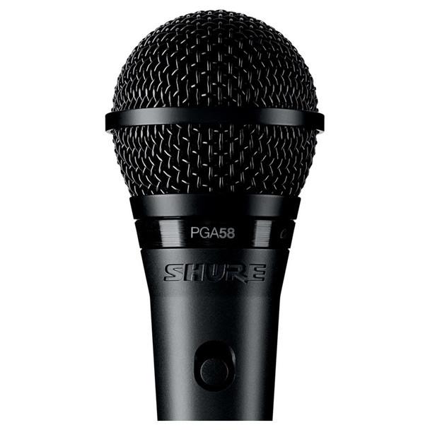 PGA58 Cardioid Dynamic Vocal Microphone close up. EMI Audio