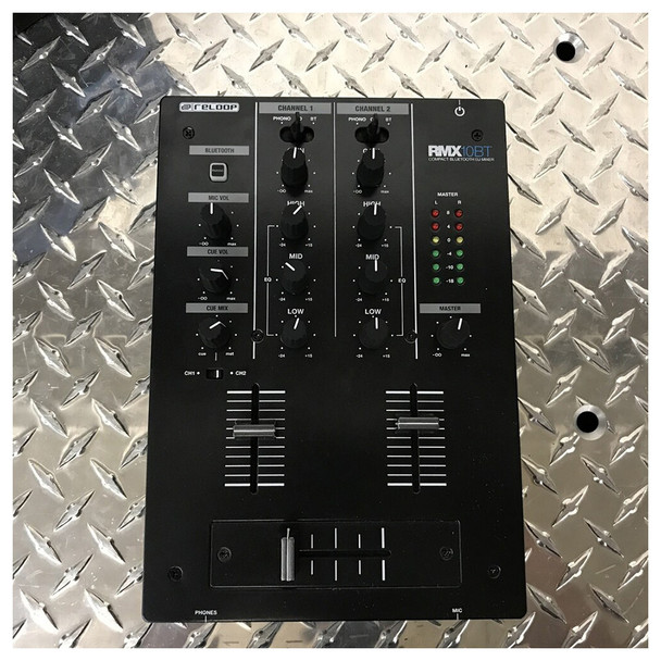 RELOOP RMX 10BT 2-channel Bluetooth DJ mixer top view. EMI Audio
