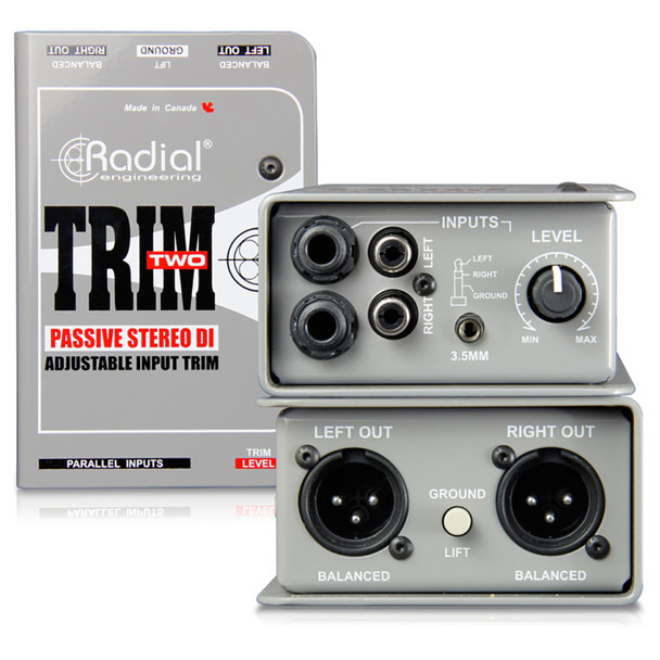 RADIAL Trim-Two passive DI for AV with level control, 2 channels with mono merge front and back view EMI Audio