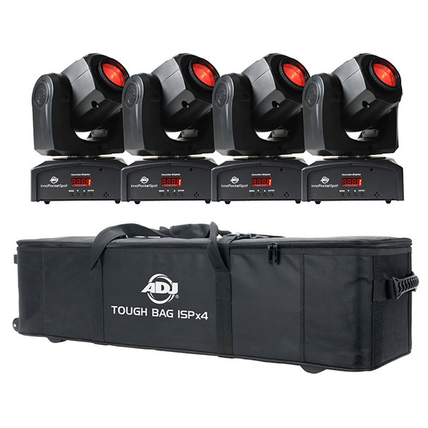 ADJ TOUGH GUY POCKET PAK Moving Head Lighting Package with 4x Inno Pocket Spots and 1x Tough Bag ISPx4
