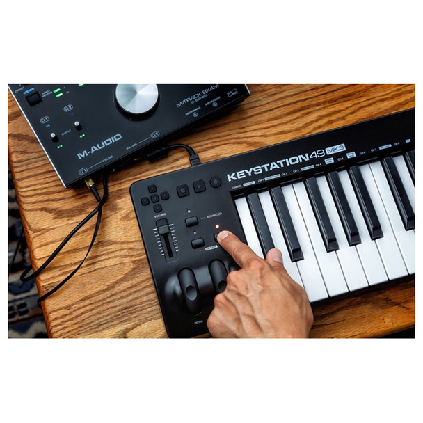 Use the fully assignable octave range buttons; pitch-bend and modulation wheels; volume slider, and transport and directional controls to play, perform, and record with your music software without using a mouse or trackpad.