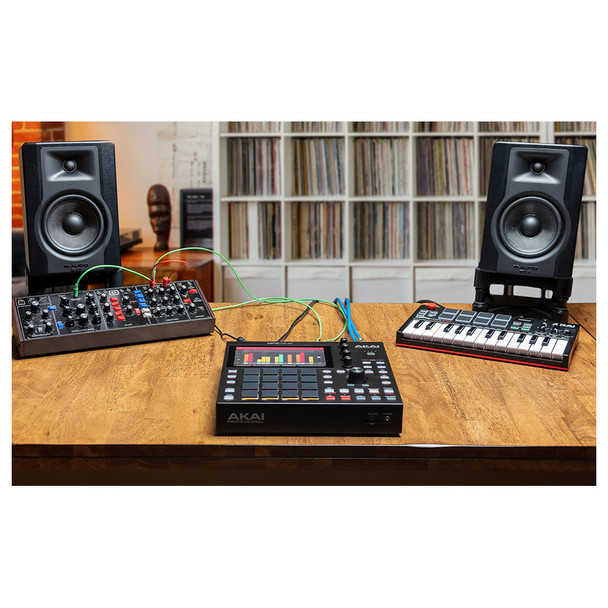 """STUDIO CONNECTIVITY MPC One integrates into your creative space with all the ports and jacks you need. USB, MIDI DIN, CV/Gate, and 1/4"""" line-level audio input. With USB and SD card slots, you can save, transfer and share your music."""