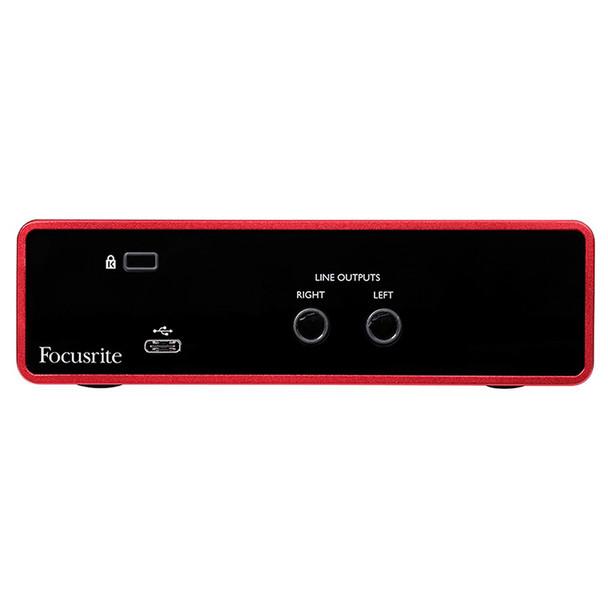 FOCUSRITE Scarlett Solo 3rd Gen mic USB interface back view. EMI Audio