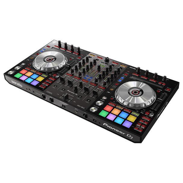 PIONEER DJ DDJ-SX3 4-ch DJ controller, Serato DJ Pro Compatibilityangled view. EMI Audio