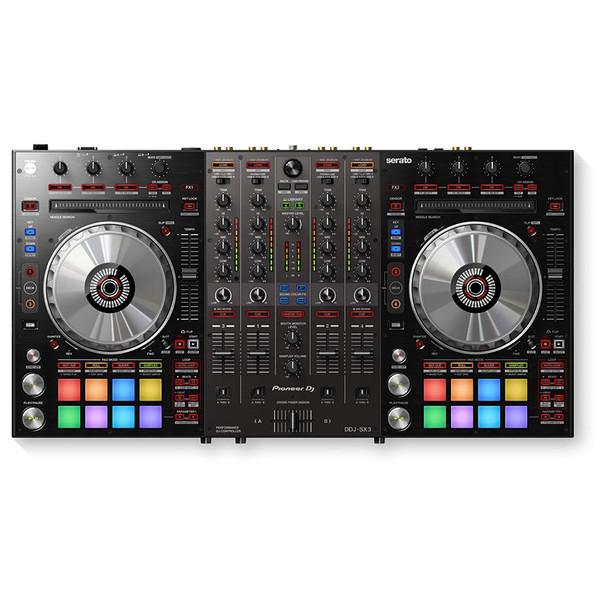 PIONEER DJ DDJ-SX3 4-ch DJ controller, Serato DJ Pro Compatibility top view. EMI Audio