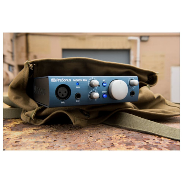 presonus-audiobox-ione-digital-audio-interface-for-studio-solo-recording-front-in-bag-view
