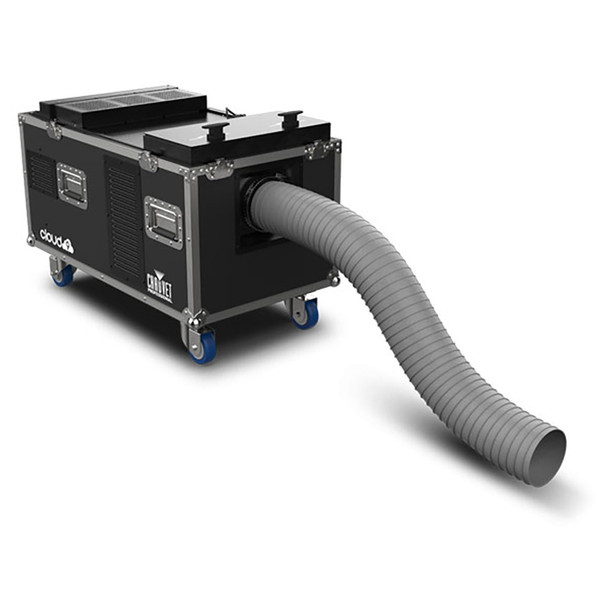 CHAUVET PRO CLOUD9 Low-Lying Fogger Creates Thick, Cloud-like Effects with High-Impact Output open case with overflow polyurethane tubing