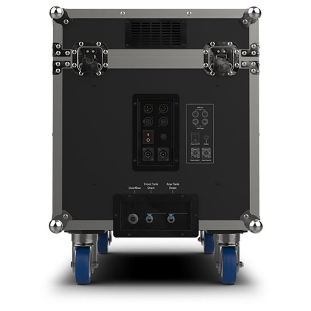 CHAUVET PRO CLOUD9 Low-Lying Fogger Creates Thick, Cloud-like Effects with High-Impact Output left view of case on wheels and inputs/outputs shown