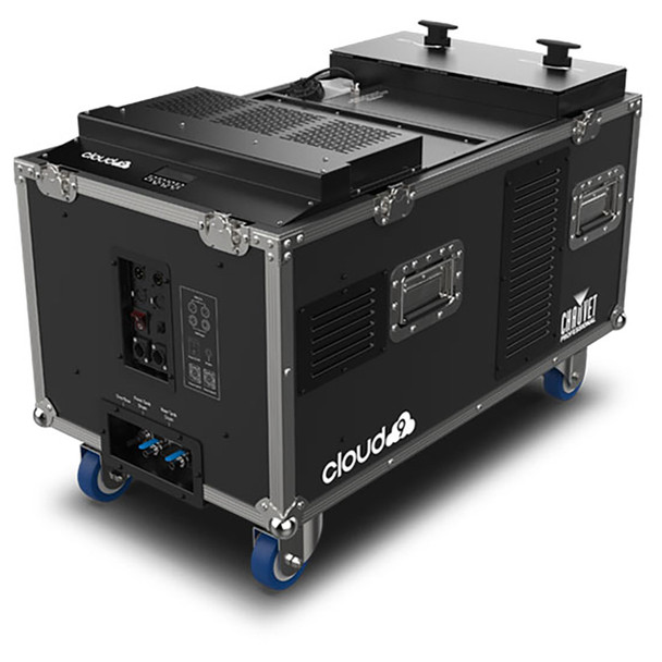 CHAUVET PRO CLOUD9 Low-Lying Fogger Creates Thick, Cloud-like Effects with High-Impact Output front/left view of open case on wheels showing input and outputs and knobs on top