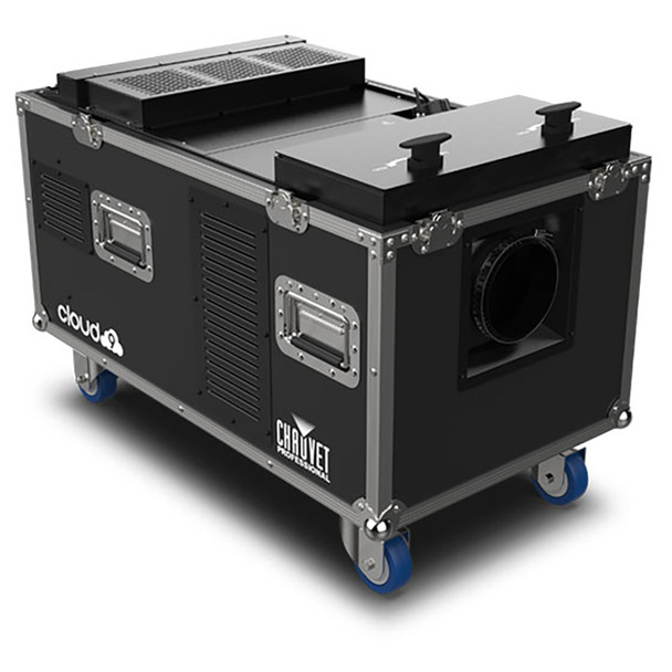 CHAUVET PRO CLOUD9 Low-Lying Fogger Creates Thick, Cloud-like Effects with High-Impact Output front/right view of fogger case on wheels open lid 2 knobs on top
