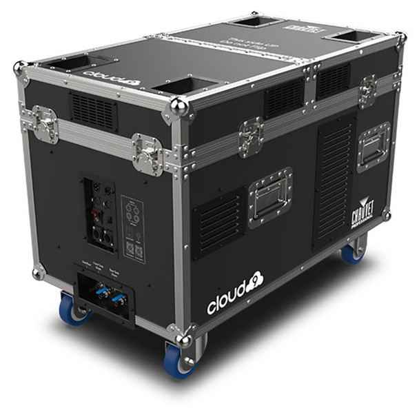 CHAUVET PRO CLOUD9 Low-Lying Fogger Creates Thick, Cloud-like Effects with High-Impact Output front/left view showing closed case on wheels and outputs/inputs on side