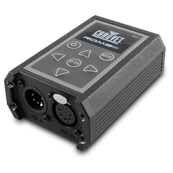CHAUVET PRO RDM2GO Multi-Functional Tool for Fixtures over a DMX/RDM Data Line front/right/bottom view showing power, mode, enter buttons on front and input/output on bottom