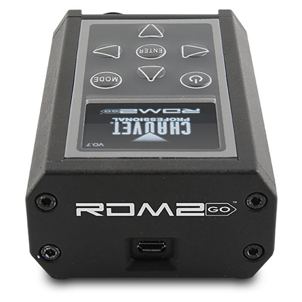 CHAUVET PRO RDM2GO Multi-Functional Tool for Fixtures over a DMX/RDM Data Line front/top view showing buttons and screen on front and input on top
