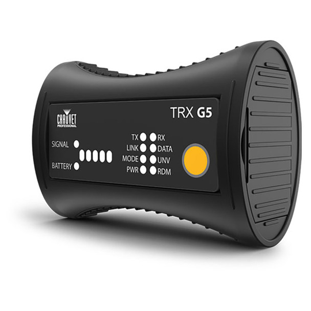 CHAUVET PRO W-DMX MICRO T-1 TRX G5 Transceiver for 1 Universe of W-DMX and RDM Protocols front/left side showing buttons and lights for signal battery power mode etc. on front