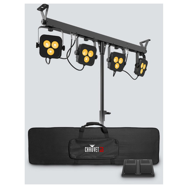 4BAR LT QUADBT 4 Par RGBA lighting tree with tripod, carrying case and foot controller
