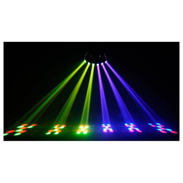 CHAUVET Derby X DMX-512 LED derby effect light shining ceiling to floor in yellow and purple